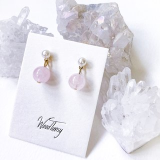 Sweet Candy Pink Rose Quartz Earring