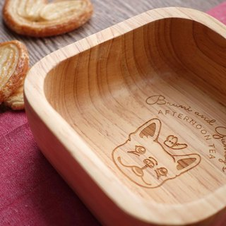 French Bulldog or Boston Terrier Square Wooden Bowl (SMALL) Snack Bowl