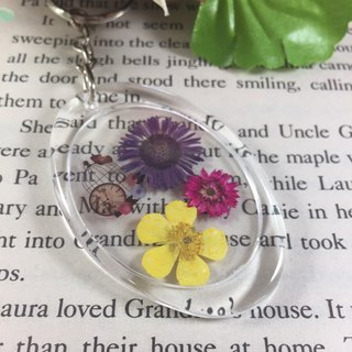 Fast-paced world transparent dried flower keychain Charm