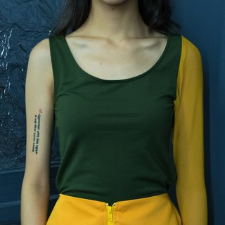 Dark green yellow single-sleeve vest