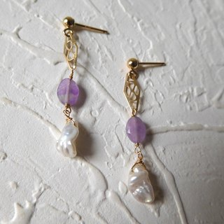Bag 14k Gold Hollow Purple Gem Pearl Earrings