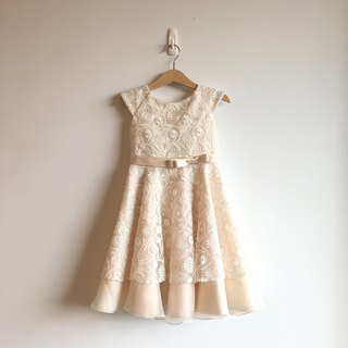 Golden Ivory Flower Lace Dress with Bow Waist