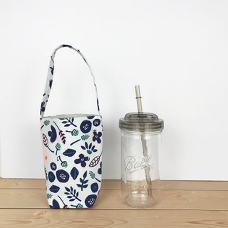 Blue flower drink bag 720ml wide mouth mason cup with cup lid straw