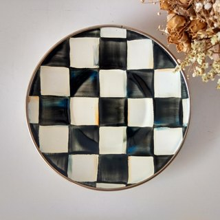 Black and white grid 6吋 painted plate