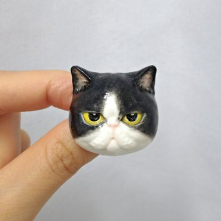 3D Print ~ Hand-Painted Exotic Shorthair Cat(Pissed off) Brooch