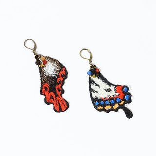 Embroidered phoenix earrings // Optional two pieces 1+1 10% off & free shipping