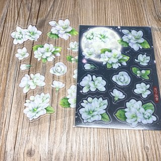 【Flavour of Moonlight】 Jasmine Transparent White Ink Sticker
