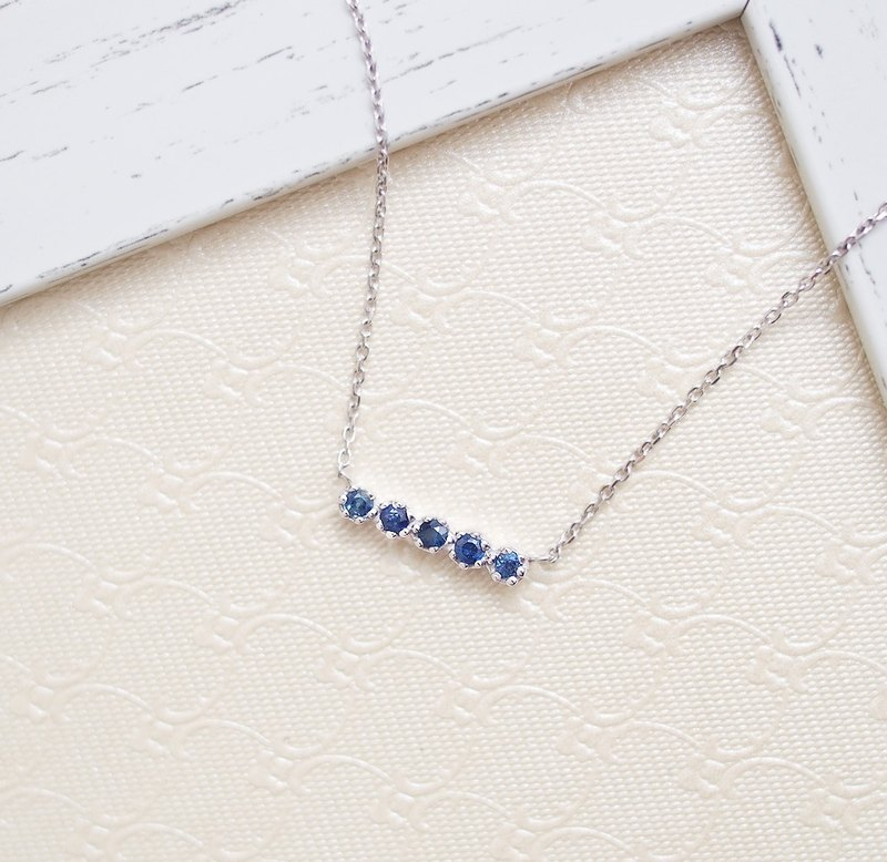 Light Jewelry Natural Sapphire Handmade 925 Sterling Silver Necklace