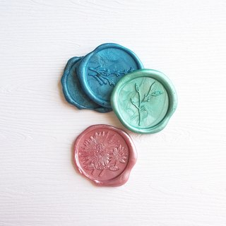 Mstandforc Wax Seal Stickers (3 pcs)|Lavender | Leaf | Daisy