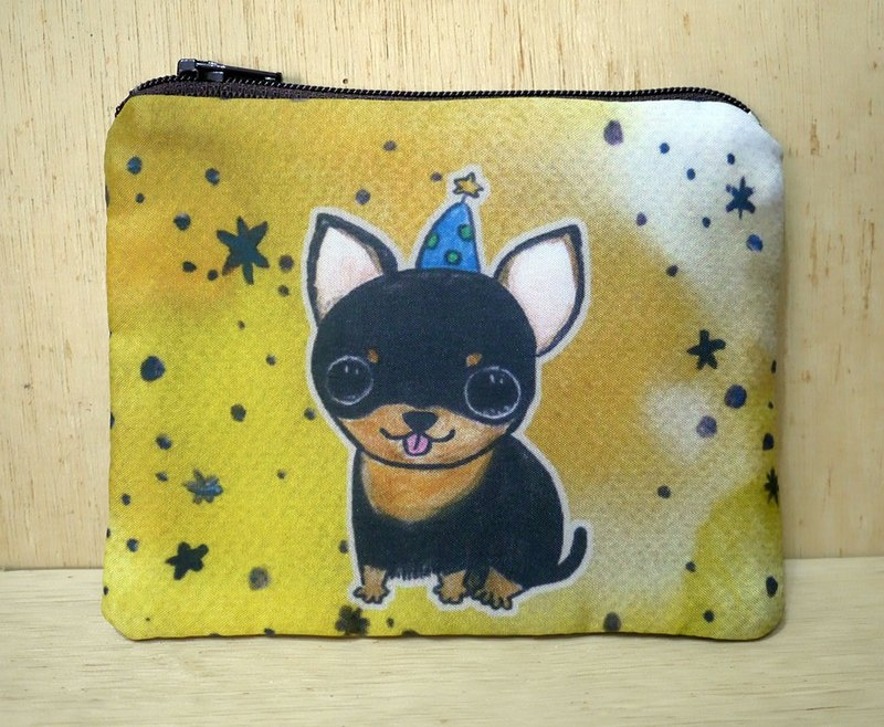 Customizable Handwriting Name Hand-painted Rendering Watercolor Style Pattern Black Bottom Four Chihuahuas Chihuahua Key Bag Purse Card Pack