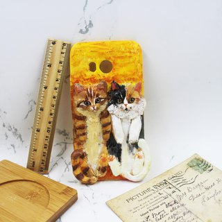 Two cats - mobile phone case. Customized / mobile phone case / clay can be made according to model