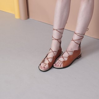[Show products clear] entangled brown Roman ropes, hollowed out leather strap sandals