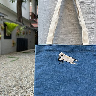 French Bulldog Embroidery Denim Canvas Bag
