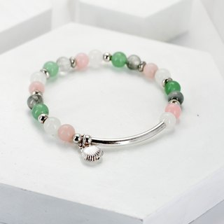 Pink fairy tale natural stone bracelet │ pink green pink ♡ unicorn 25 sterling silver gift birthday accessories powder Opal Green Tanglin Valentine's Day