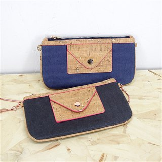Aristocat Waterproof Heavy Denim + Cork 2 Ways Envelope Bag