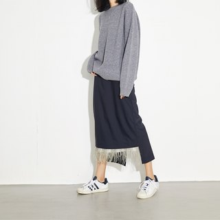 GAOGUO originality Gray Round collar fleece Wool sweater