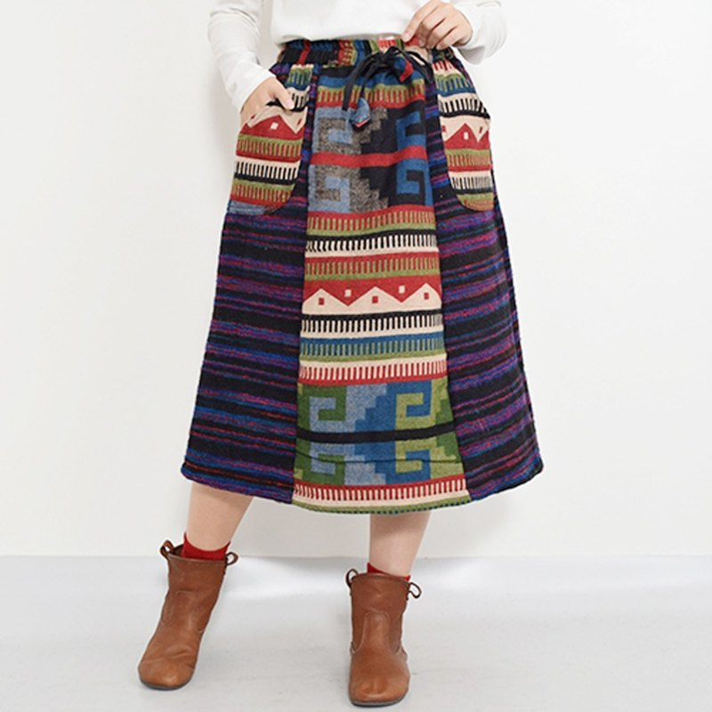 Brushed Material Ethnic Pattern 2 Tone Long Skirt