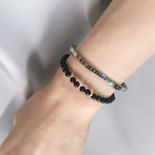( Ofelia. ) natural stone series. natural black agate x pure silver grain simple fine bracelet (J82.Dodd) crystal/natural stone