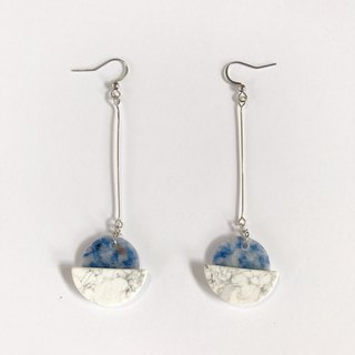 [Lost and find] natural stone turquoise blue point stone pendant earrings