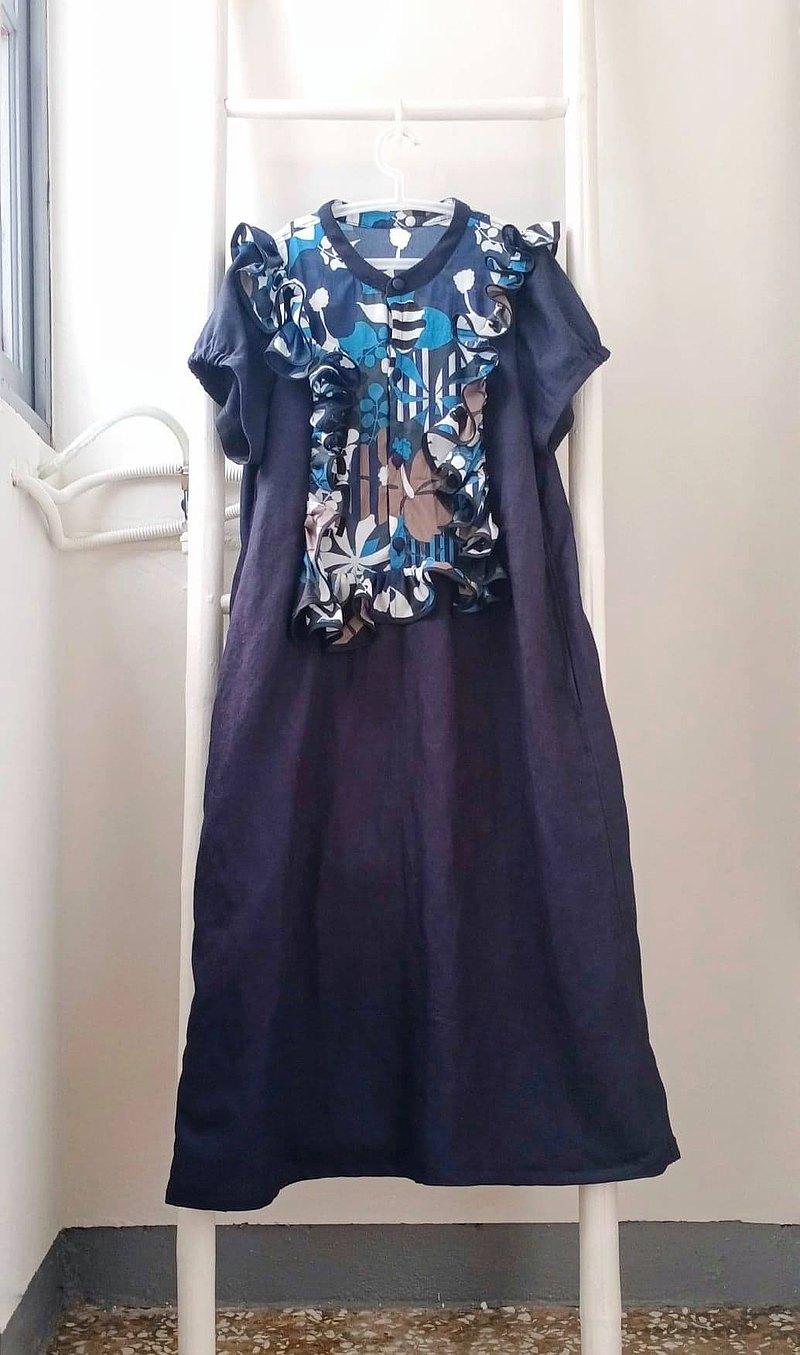 小圓立領有機小波浪印花拼接深藍棉麻洋裝