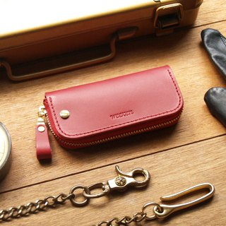 Leather Key Case ( Custom Name ) - Flamenco Red