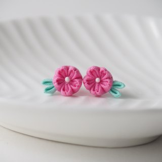 Hot Pink Cherry Blossom Sakura stud Earrings Clip-on 14KGF, S925 custom