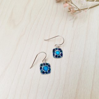 Painted Dangle earrings with Sterling Silver - Square-shaped