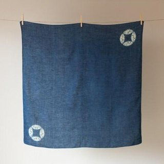 The indigo dyeing hemp furoshiki (Cloisonne-thin indigo)