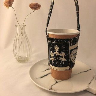 Black and white little ballet girl takeaway drink cup bag