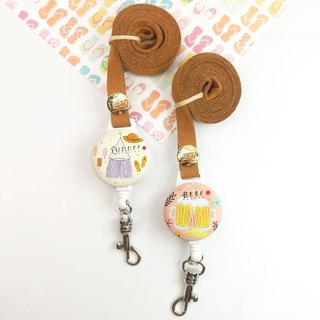 I easy to wear retractable card holder - summer new (two) - cool beer scarecrow
