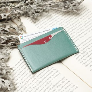 Retro marine blue hand dyed yak leather manual ticket holder