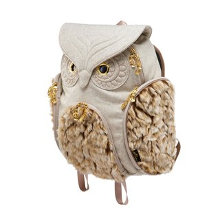 Morn Creations genuine classic owl backpack after No. L - light gray fur (OW-3511-LG)