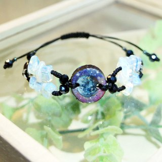 Hand painted moon wood charm wax thread bracelet with moonstone and glass beads