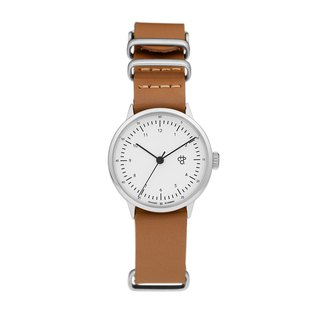 Harold Mini Series Silver White Dial Honey Brown Leather Watch