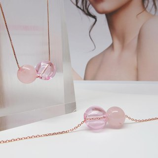 Rose Quartz October Rose Gold S925 Diffuser Necklace Bracelet