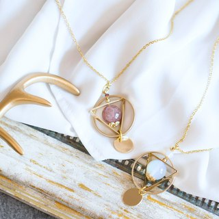 Celestial Globe with Moonstone / Strawberry Quartz Surgical Steel Necklace