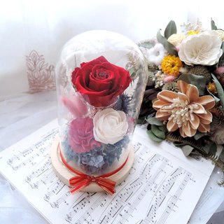 [The only love] not withered red rose glass night light / wedding ceremony / anniversary