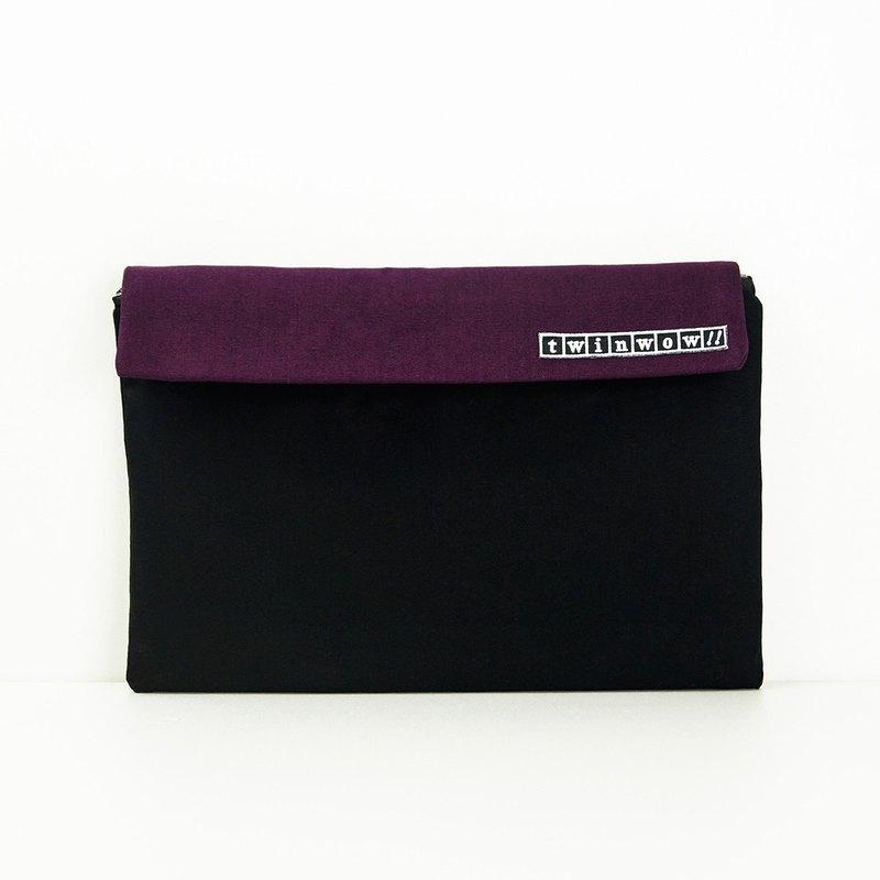 時尚筆記 - 細緻質感平板包 - 時尚黑紫