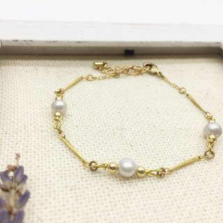 Old Lin Grocery Travelin Natural Shanghai Pearl Brass Bracelet Gray Blue