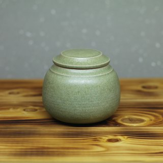 Round green tea warehouse hand made pottery tea props