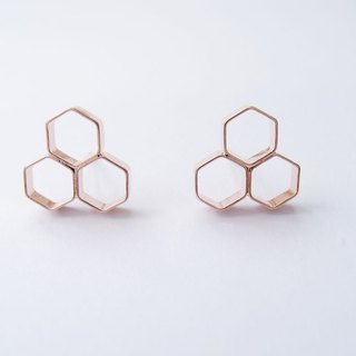 Geometric Landscape 10 Rose Metal Earrings