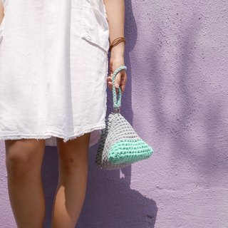 Duo Color Triangle Handbag, crochet, knit, handmade (Light Grey / Aquamarine)