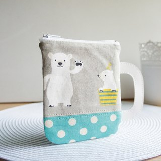 Lovely Polar Bear Mug, Multi-Purpose Handmade Coin Purse, Grey/Little Lake Green (randomly shipped)