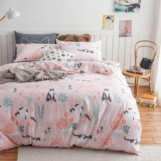 Powder garden pillowcase + quilt cover two-piece single double original hand-painted cat 40 cotton bed package optional