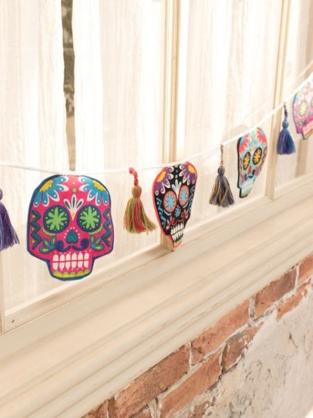 【Pre-order】 ☼ Mexican Day of the Dead, colorful skull banner ☼ ISAP81D2