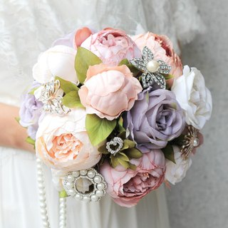 Simulation flower bouquet jewelry [series] Mrs. Pearl / smoky pink peony flower