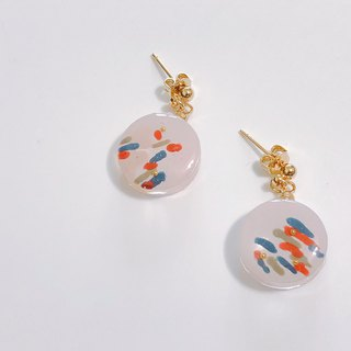暮秋轻旅行系列- Underwater hot spring handmade hand-painted vertical ear/ear clip