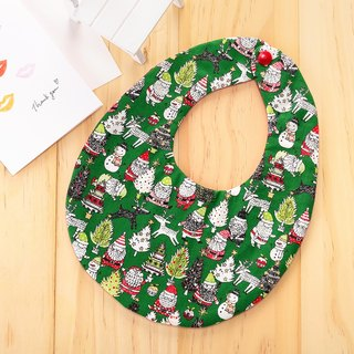 Christmas Themed Double-sided Handmade Bib (Green)/Miss Moon Gift Birthday Gift Christmas Gift