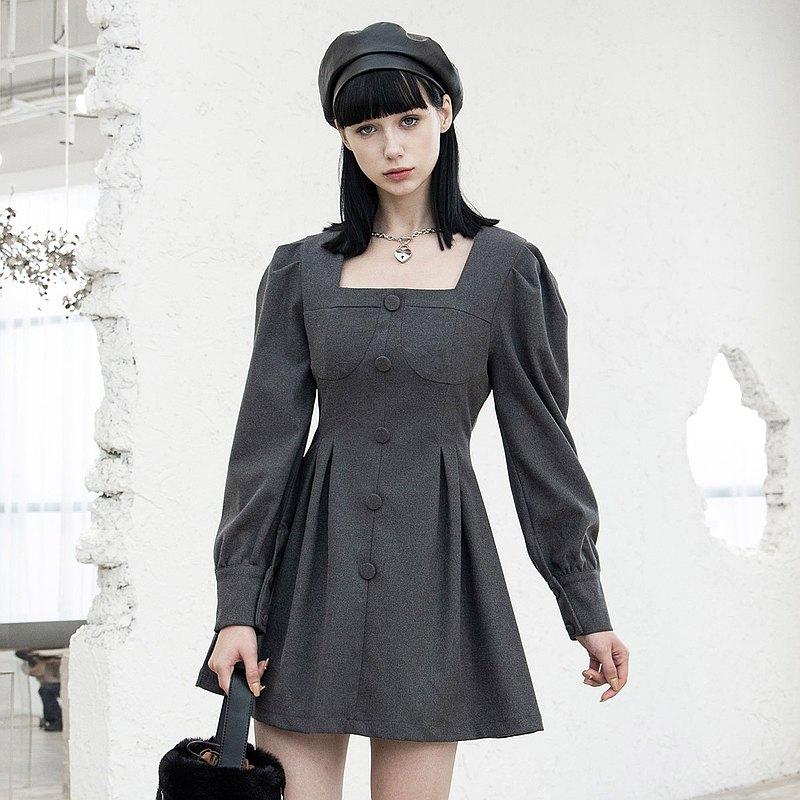 異教徒協會復古方領連衣裙 - 灰 / 黑 / 即將絕版