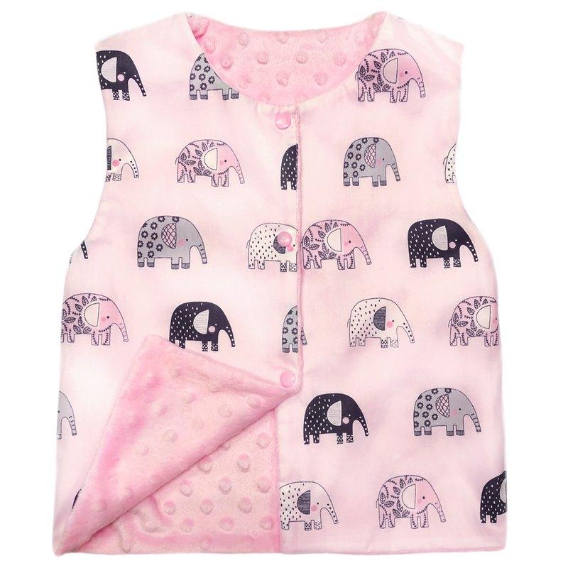 Minky點點 印花雙面背心 正反兩面穿 粉色大象